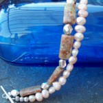 Autumn Jasper and Freshwater Pearls, Double Strand