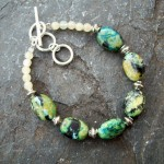 Chrysocolla and Jade Adjustable Bracelet